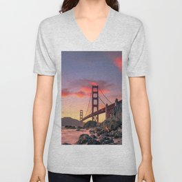 Sunset over the San Francisco Bridge (Color) Unisex V-Neck