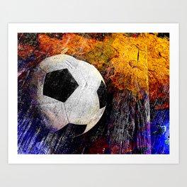 Soccer ball vs 7 Art Print