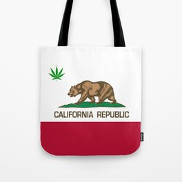 California Republic state flag with green Cannabis leaf Tote Bag