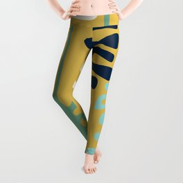 Abstract jungle - mustard Leggings