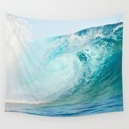 Pacific big surfing wave breaking Wall Tapestry