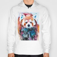 red panda Hoodies featuring Red panda by Slaveika Aladjova
