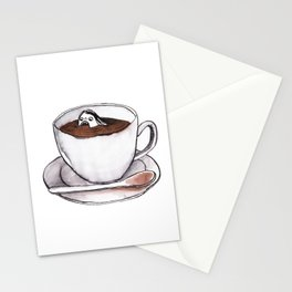 Caffeine addict tea and coffee cup illustration Stationery Cards
