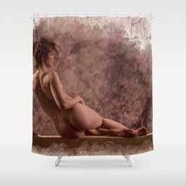 Nude woman watercolor vintage Shower Curtain