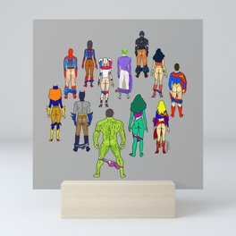 Superhero Butts - Power Couple on Grey Mini Art Print