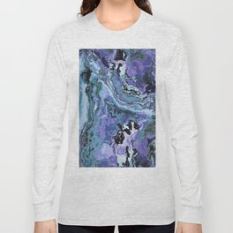 Blue gray marble Long Sleeve T-shirt