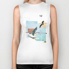 """Seagull"" collage Biker Tank"