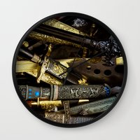 arsenal Wall Clocks featuring  Collage - Daggers, Dirks and Sabres by digital2real