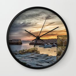 Lobster Trap sunset at lanes cove Wall Clock