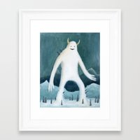 yeti Framed Art Prints featuring Yeti by Monster Tea Party