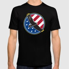 American Eagle Flying USA Flag Retro Mens Fitted Tee Black LARGE