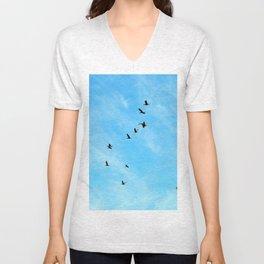 Cormorant flock Fly-over Unisex V-Neck