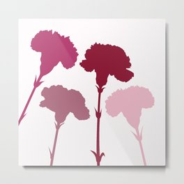 Carnation Silhouettes Pinks & Reds Metal Print