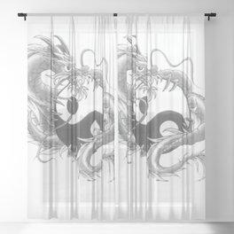 dragon ying and yang Sheer Curtain