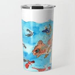 Original watercolor Cat and Fishes Travel Mug