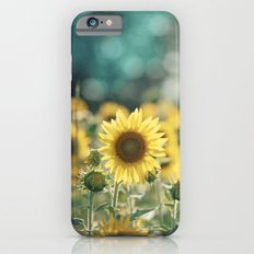Sunflower Flower Photography, Yellow Teal Nature Turquoise Aqua Blue Green iPhone 6s Slim Case