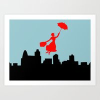 mary poppins Art Prints featuring Mary Poppins  by Sammycrafts