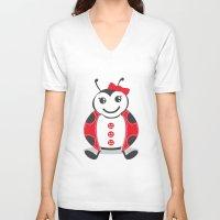 ladybug V-neck T-shirts featuring LadyBug by Alìta Design