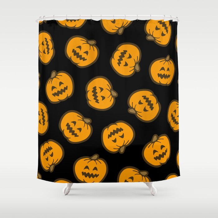 Jack O Lantern Pattern In Orange And Black Shower Curtain