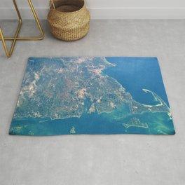 Satellite View Of New England, Rhode Island, Cape Cod, Martha's Vineyard & Narragansett Bay Rug
