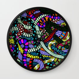 Snaking Doodles Zentangle Wall Clock