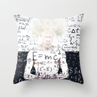 einstein Throw Pillows featuring einstein by Taranta Babu