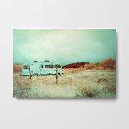 Peaceful Vintage RV In Autumn, Montana Metal Print