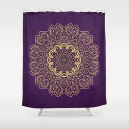 Golden Flower Mandala on Textured Purple Background Shower Curtain