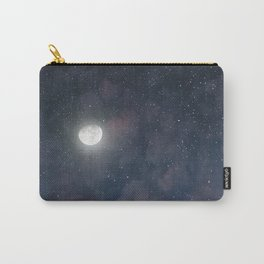 Glowing Moon on the night sky through pink clouds Carry-All Pouch