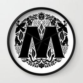 Letter M monogram wildwood Wall Clock