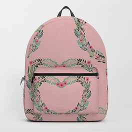 Heart Wreath Hand-painted in Green Ferns and Pink Blossoms on Pink Backpack