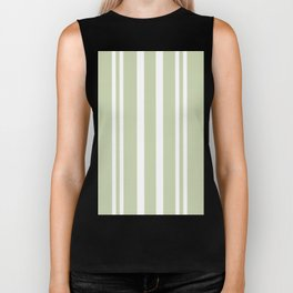 Plain Seafoam Green and White Stripes Design Biker Tank