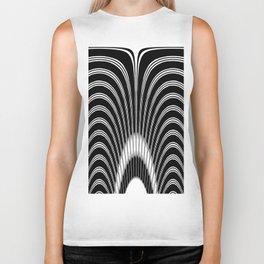 Geometric Black and White Abstract Skeletal Pattern Biker Tank