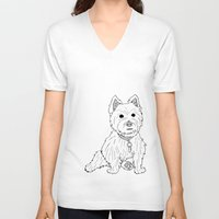 westie V-neck T-shirts featuring Westie Sketch by Circus Dog Industries