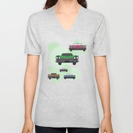 Route 66 colorful cars Unisex V-Neck