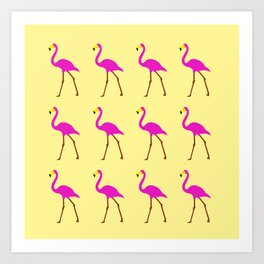 Flamingos in yellow Art Print