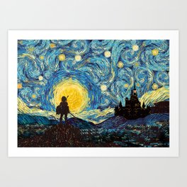 triforce warrior link starry night iPhone 4 5 6 7 8, pillow case, mugs and tshirt Art Print