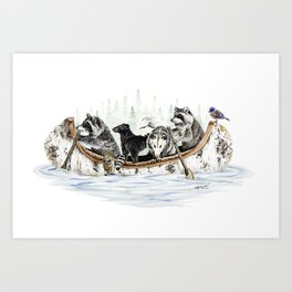 """ Critter Canoe "" wildlife rowing up river Art Print"