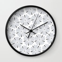 easy living cool grey flowers Wall Clock
