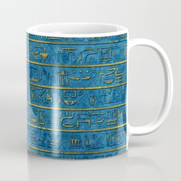 Golden Embossed Egyptian hieroglyphs on blue Coffee Mug