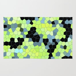 Cell Print Home Decor Graphic Design Pastel Colors Green Grey Blue Black Mint Lime Kiwi Rug