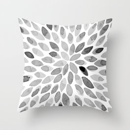 Watercolor brush strokes - black and white Throw Pillow