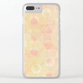 Peachy Keen Hexagons Clear iPhone Case