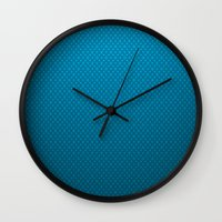 lv Wall Clocks featuring LV Blue Pattern by Veylow