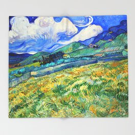 Van Gogh Mountain Meadow Landscape Painting Print Throw Blanket