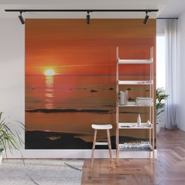 Kayaker and the Setting Sun Wall Mural