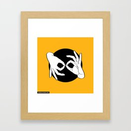 Sign Language (ASL) Interpreter – White on Black 09 Framed Art Print