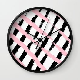 Pink and Black Sketch Checker Wall Clock
