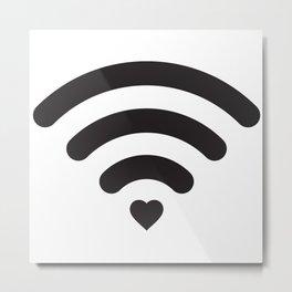 Love & WiFi - Black & White Metal Print