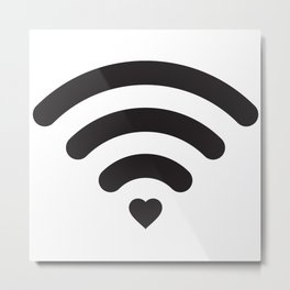 Love & WiFi - Black & White Metal Print